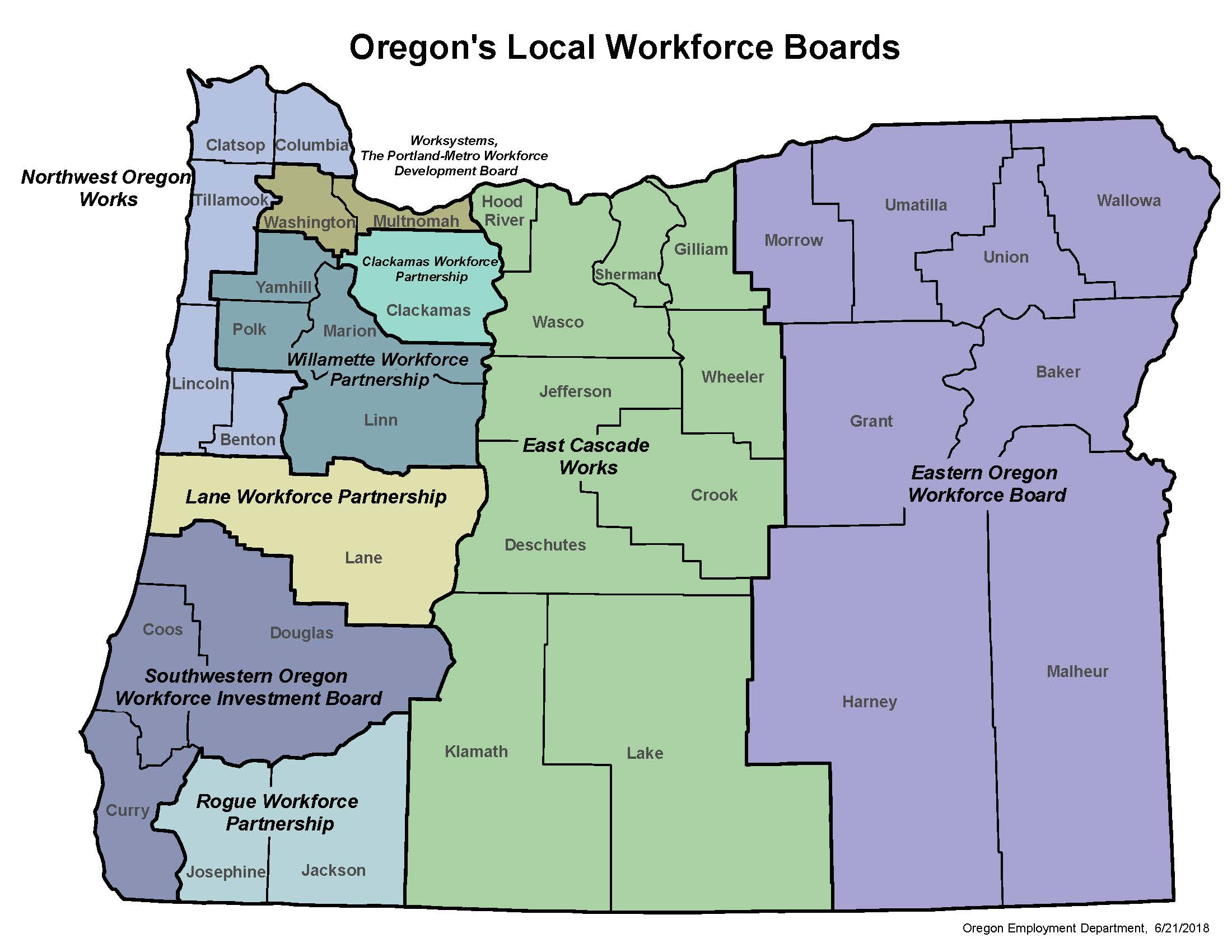 Workforce Board Map June 2018 About OWP